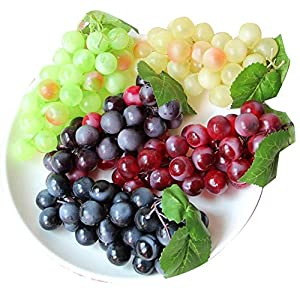 chengsan Artificial Grapes,4 Bunches of Artificial Green Yellow Purple Black Artificial High Simulation Grapes, False Fruit Fake Grapes Decorative, Kitchen, Office and Photography Props