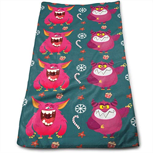 chenguang4422 Funny Cartoon Monster Bath Hand Towels Dish Cloth Machine Washable Kitchen Towels Tea Towels for Drying Cleaning Cooking Baking