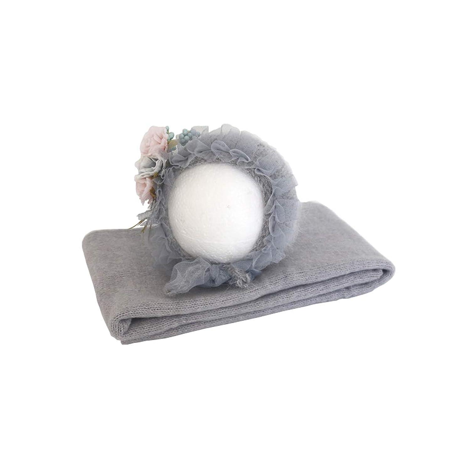 セミナー辛なハブブJuliyan 0~1ヵ月 新生児 記念撮影 ニューボーンフォト ブラケット べビー モヘア製 花帽子 ラップ 出産祝い プレゼント グレー