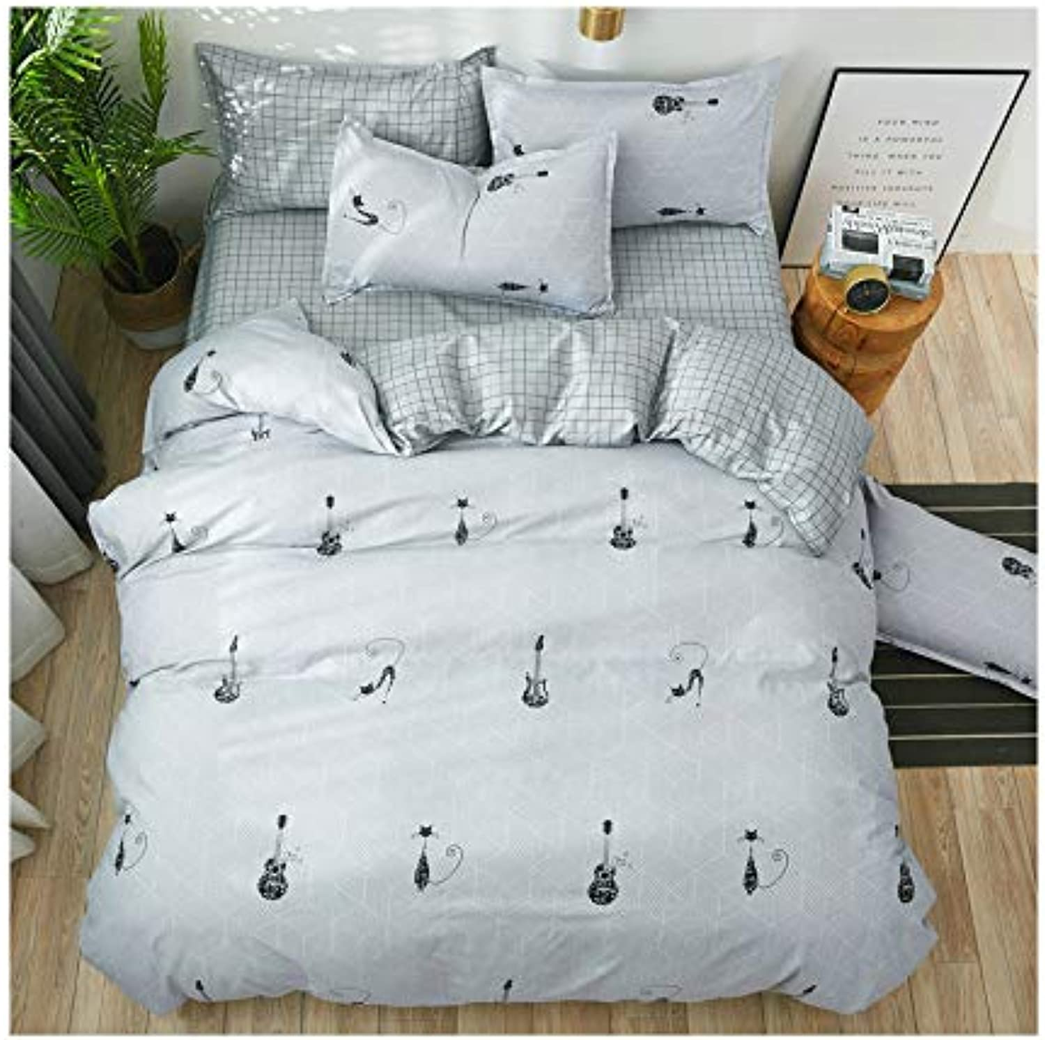 KFZ Bed Set (Twin Full Queen King Size) [4 Piece  Duvet Cover, Flat Sheet, 2 Pillow Cases] No Comforter MJ1905 Cat Puppy Triangle Design for Kids Sheets Set (Guitar Cat, Multi, Full 70 x86 )