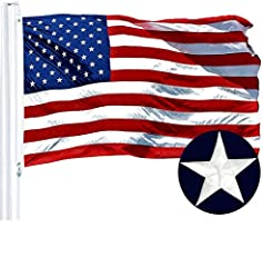 US American Beautiful Deluxe Quality Polyester Flag; Embroidered Stars and Sewn Stripes with Double-Needle Lockstitch with 4 Rows on the Fly Hem; Heavy Duty Polyester Canvas Heading with Two Solid Brass Grommets; Made From Quality 210D Polyester. Imp...