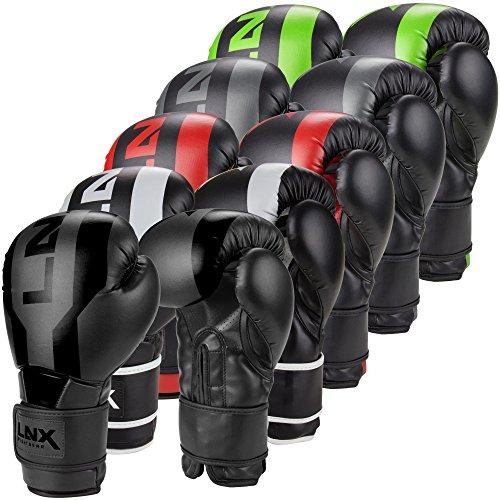 LNX Boxhandschuhe Stealth - Männer Frauen 8 10 12 14 16 Oz - ideal für Kickboxen Boxen Muay Thai MMA Kampfsport UVM schwarz/grau (004) 16 Oz