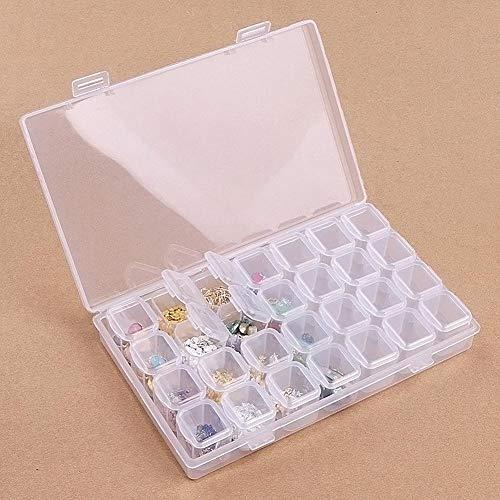 Transparente Schmuckschatulle Werkzeugcontainer, Make-up Nagel Plastikschachtel für Schmuck, Sortierbox mit 28 Fächern