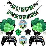 Decoraciones de cumpleaños para niños, globos de suministros para fiestas de videojuegos, globos de control de videojuegos, globos de papel de estrella de 18 pulgadas