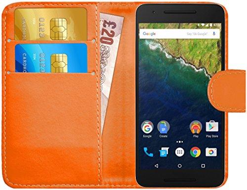 G-Shield Hülle für Google Nexus 6P Klapphülle mit Kartenfach - Orange