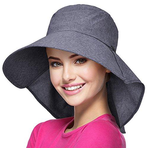 Solaris Sommer-Sonnenhut mit breiter Krempe für Frauen mit Halsabdeckung und verstellbarem Riemen Floppy Faltbarer UV-Schutz-Eimerhut zum Wandern Angeln Garten Safari Beach Lila