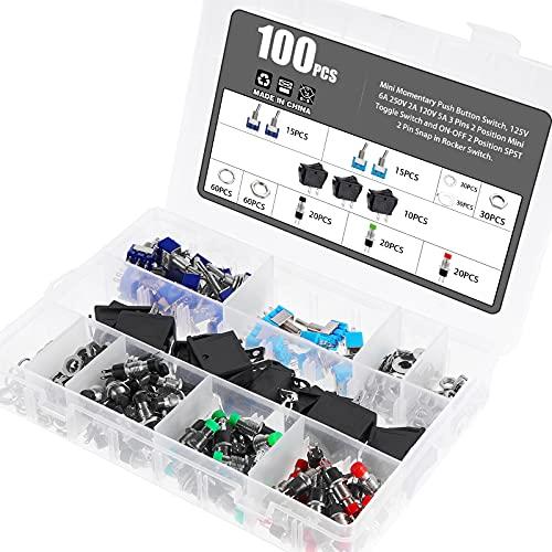 eROOSI 100 piezas de mini interruptores de botón, 125V 6A 250V 2A 120V 5A 3 pines 2 posiciones mini interruptor de palanca 2 posiciones SPST interruptor basculante de 2 pines 16A / 250V 20A / 125V AC