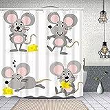 Yoliveya Cortina Ducha Impermeable,Lindo ratón Queso Vector Set Poco,Impresión de Cortinas baño con 12 Ganchos 180x180cm