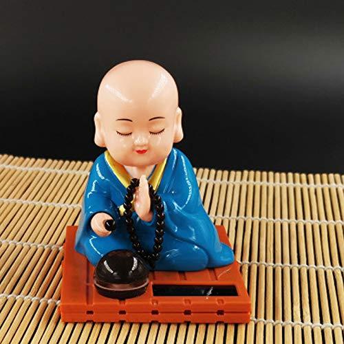 BARMI Solar Powered Baby Buddha Figurines Monk Figurines Decor Car Bobbleheads Figures Buddah Dashboard Decorations L 2