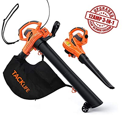 TACKLIFE Leaf Vacuum, 5 Variable Blow Speed, Leaf Blower Vacuum with 45L Collection Bag, 3 in 1 Blower/Vacuum/Mulcher, KABV35A