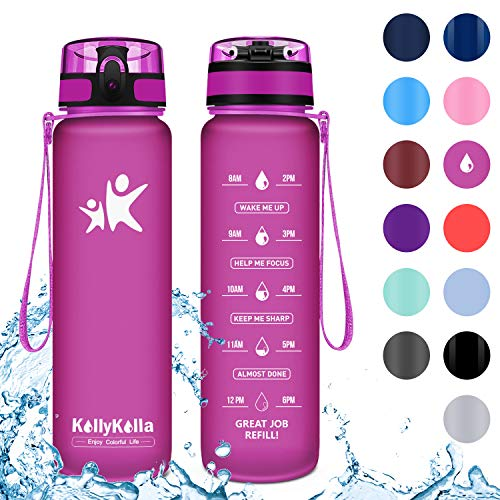 KollyKolla Botella Agua Sin BPA Deportes - 500ml, Reutilizables Ecológica Tritan Plástico, Bebidas Botellas con Filtro & Marcador de Tiempo, para Colegio, Tapa Abatible de 1 Clic, Fucsia Mate