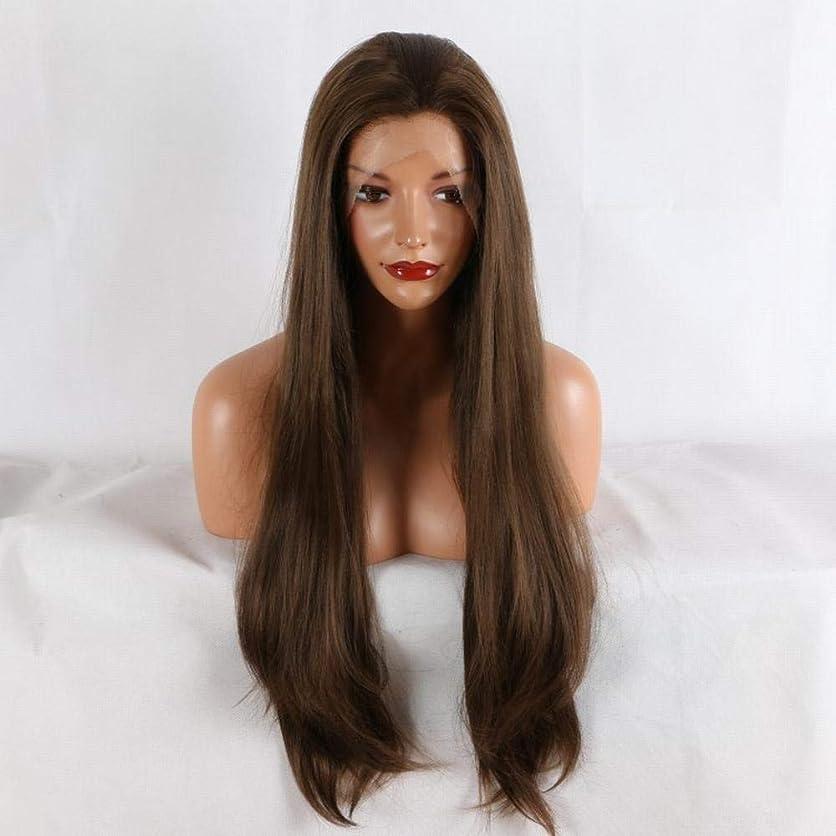 湿原郡有効なYrattary 女性のための茶色の長いストレートヘアー合成レースフロントかつらロールプレイングかつら (色 : ブラウン)