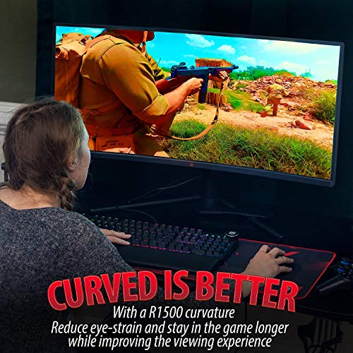 Deco-Gear-34-3440x1440-219-Ultrawide-Curved-Monitor-144Hz-HDR10-40001-Contrast-Ratio-6ms-Response-Time-99-sRGB-167-Million-Colors-Adaptive-Sync-Blue-Light-Reduction