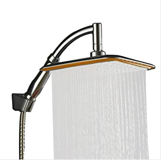 Abs Chrome 9 Inch Square Thin Rotatable Top Rain Shower Head Wall Mounted Extension Arm Water Saving Pressurized Shower