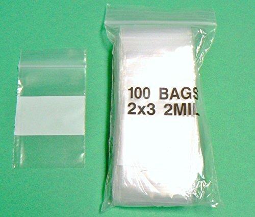 "100 2x3 WHITE BLOCK ZIPLOCK BAG 2MIL WHITE WRITEABLE BAGGIES 2""x3"" SMALL BAGS (2E) NOVELTOOLS"