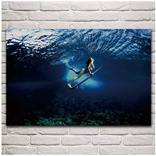 Surfen babe bikini onderwater board meisje poster woonkamer thuis muur decor canvas art print op canvas cadeaus voor ouders en vrienden-50x70cm geen frame