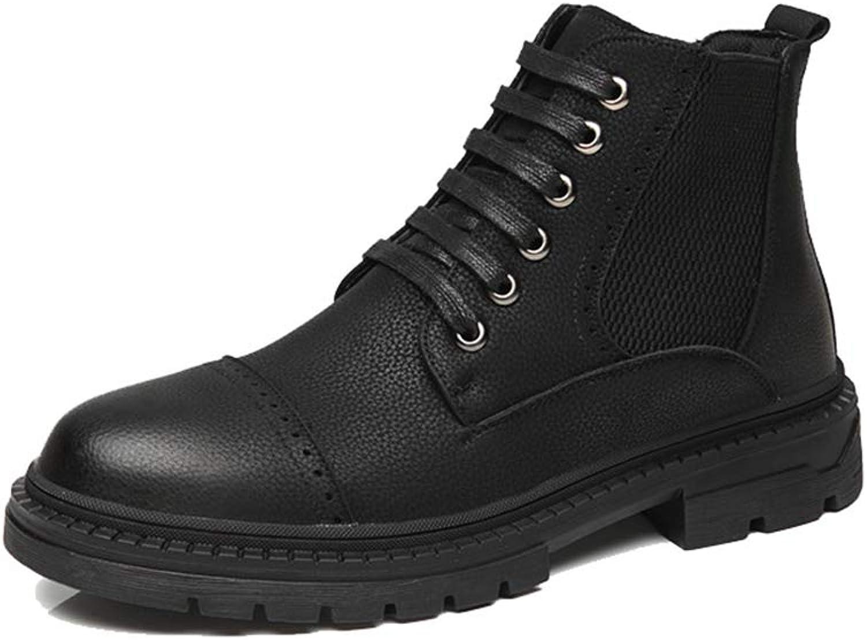 JIALUN-Schuhe 2018 Neue Herren Modische Stiefeletten Casual Komfortable High Top Flache Ferse Klassische Freizeit Stiefel (Farbe   Schwarz, Größe   41 EU)