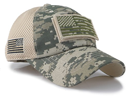 The Sox Market Camouflage Constructed Trucker Special Tactical Operator Forces USA Flag Patch Baseball Cap (Digital Green)