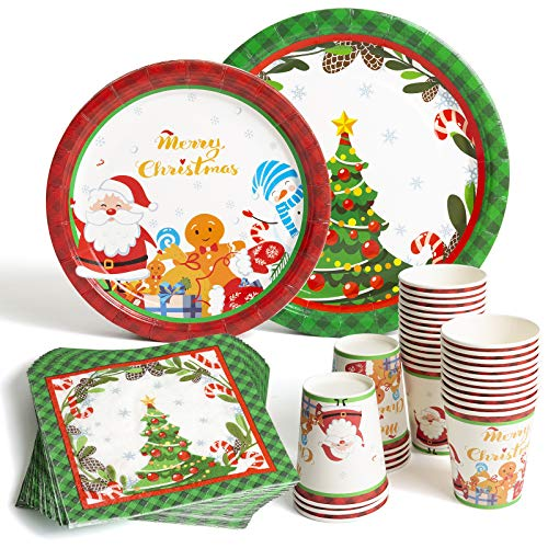 Christmas Paper Plates and Napkins Sets for 30 Guests in Green Christmas Tree and Red Santa Claus, 30 Dinner Plates 30 Dessert Plates 30 Napkins 30 Cups for Holiday Christmas Celebration