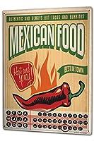 カレンダー Perpetual Calendar Retro Mexican Food Tin Metal Magnetic
