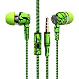 Design Nylon Braided Crack Earphone Cloth Rope Earpieces Stereo Bass MP3 Music Headset with Microphone for Cellphone MP3 MP4 (Green)