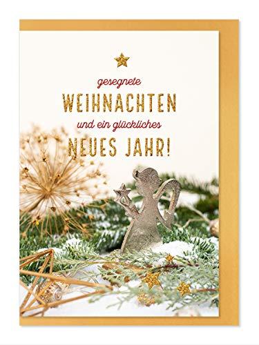 """Weihnachtskarte""""Goldenes Fest""""- Motiv Sternen Engel/gesegnete Weihnachten"""