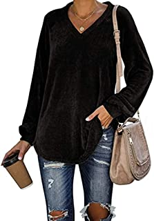 Womens Corduroy Shirts Casual Loose Fit Pullover Long Sleeve Sexy V Neck Blouse Warm Velvet Tunic Tops S-XXXL