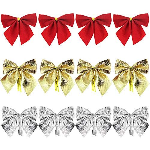 DECARETA 72 Stück Weihnachtsschleifen Gold/Silber/Rot Weihnachtsbaum Schleifen Deko Tannenbaum Weihnachtsbaumschmuck Christbaumschmuck Schleifen Weihnachten Zierschleifen für Weihnachtskranz Geschenk