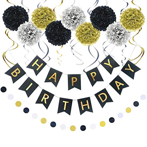 LITAUS Birthday Decorations, Black and Gold Happy Birthday Decorations for Women -Serves 4- Happy Birthday Banner, Hanging Swirls, Paper Garland and Flowers for Kids Dini Party, Party Decorations