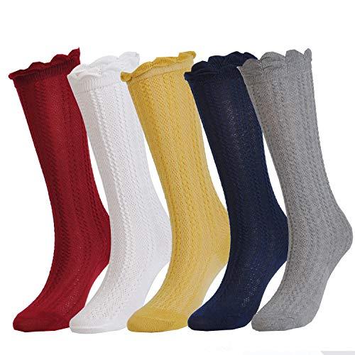 Epeius 5 Pairs Little Girls Cotton Uniform Knee High Socks Kids Boys Tube Ruffled Stockings for 4-6 Years,White/Grey/Navy/Yellow/Wine Red