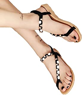 e2d78e0b3 ZARLLE Sandalias Mujeres Moda Verano Plano Talla Grande Bohemia Clip Toe  Dulce con Cuentas Sandalias Casuales