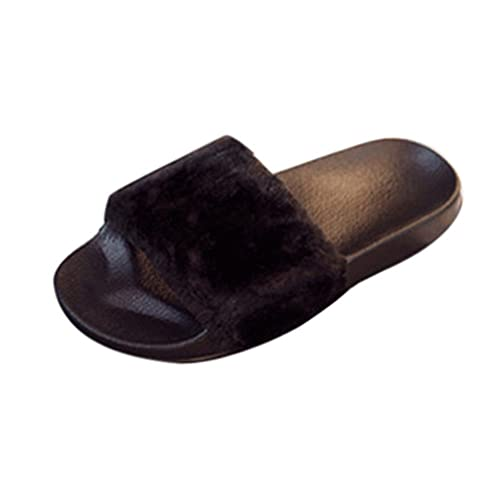 b234eed5c7bb Black Fur Sliders  Amazon.co.uk