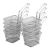 8 mini cestas para freír de acero inoxidable, colador para cesta de freidora, para servir comida, presentación, cocina, cesta de patatas fritas, herramienta de cocina