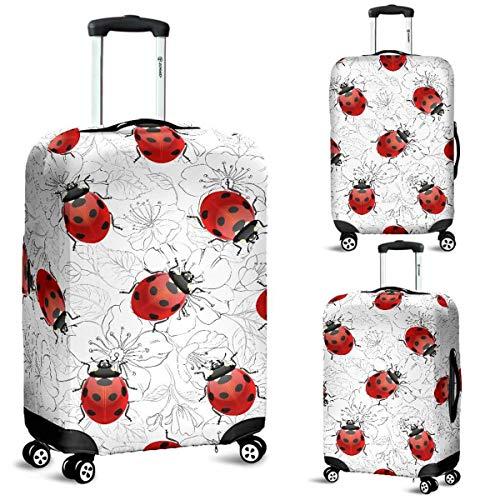Realistic Ladybugs & Flowers Luggage Suitcase Cover Protector Decor Ladybird Gift Item (Large)