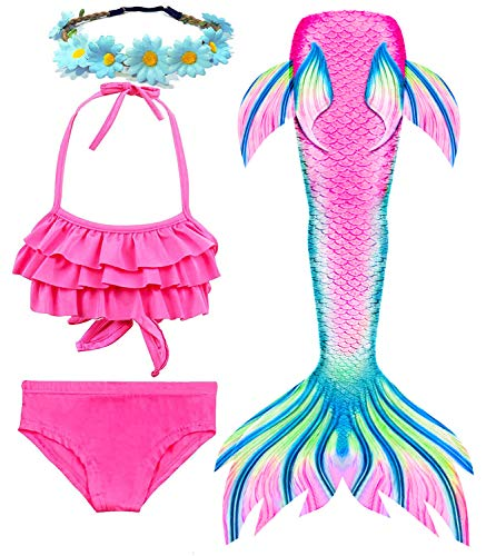 Girls Mermaid Tails for Swimming Bathing Suits Mermaid Theme Swimsuits Toddler Girls Birthday Gift for 3-12Y D-Pink
