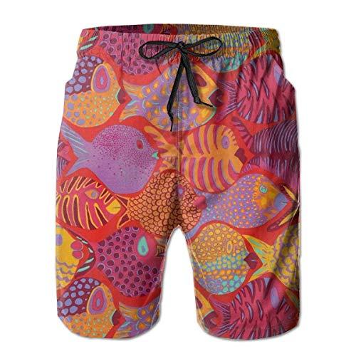 Sheho Freespirit Red Goldfish Herrenmode Badehose Schnelltrocknende Badeanzüge Boardshorts mit Taschengröße XL