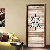 N-A Puerta 2PCS / Set engomada del PVC Autoadhesivo Impermeable extraíble 3D Decoración Estante del Vino Etiquetas de DIY Arte de Pared Pegatinas Porte (Color : DZMT011, Sticker Size : 77x200cm)