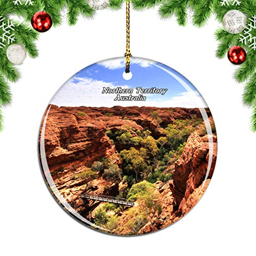 Weekino Australia Kings Canyon Northern Territory Christmas Xmas Tree Ornament Decoration Hanging Pendant Decor City Travel Souvenir Collection Double Sided Porcelain 2.85 Inch