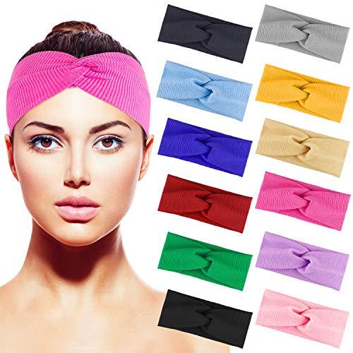 Duufin 12 Stück Haarrband Twist Knoten Haarreifen Stirnband für Damen und Mädchen, 12 Farben