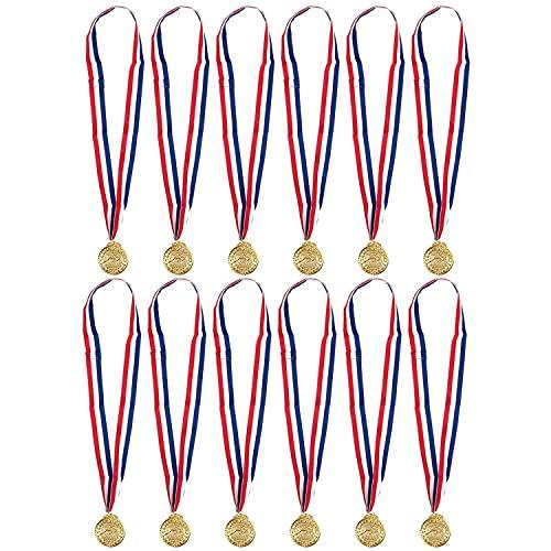 Juvale Goldmedaillen zum Schwimmen – 12er-Pack Schwimmer Gewinner Award Medaillen, 5 cm im Durchmesser mit 76,2 cm Band