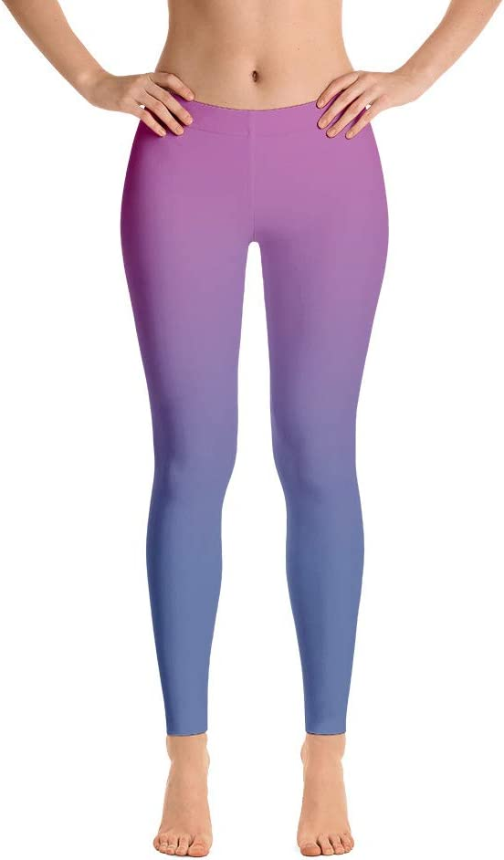 Blue Green Ombre Leggings Gradient Capris Yoga Pants Shorts Kids Adult Plus Size Mommy and Me Matching Dance Pants Cosplay Costume 5020