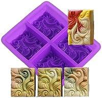 4 - 正孔の波動手作り石鹸金型スクエアゼリープリンチョコレートモールドフォンダンケーキデコレーションツールムースケーキ装飾的な金型