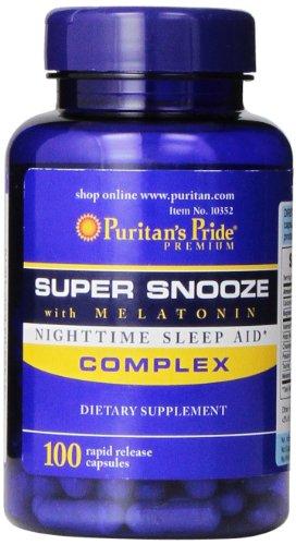 Puritan's Pride Super Snooze with Melatonin Rapid Release Capsules,100 Count