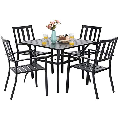"""MFSTUDIO 5 Piece Metal Patio Dining Sets Outdoor Club Bistro Bar Sets with 1.57"""" Umbrella Hole, 4 Garden Backyard Metal Chairs and Larger Square Patio Table, Steel Slat Frame, Black"""