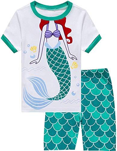 Eulla Pijama para niña, diseño de jirafa, ropa de noche de algodón, ropa de verano para niños, pijama de dos piezas