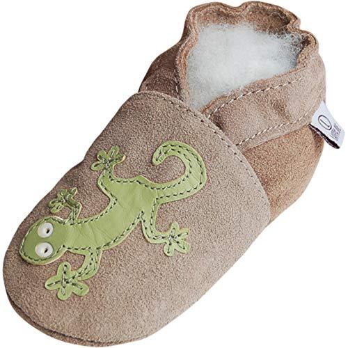 Lappade Geckos beige Wildleder Pirat LKW Bagger Auto Flugzeug Stern Lederpuschen Hausschuhe Krabbelschuhe Baby Lauflernschuhe mit Ledersohle (Art. 154 Gr. 23/24 EU)