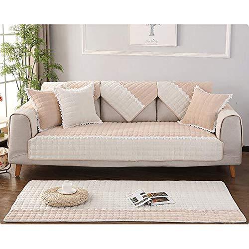 Acolchado Funda para sofá, Muebles Clip de Dinero Y Funda de sofá Multi-Size Pana Rectangular Funda Cubre sofá Cordón Antideslizante Funda de sofá-de Color Crema 70x70cm(28x28inch)