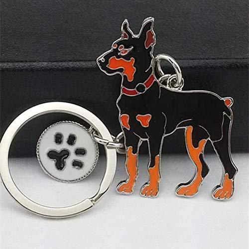 Llavero, Llavero, perro Doberman pendientes dominantes de Cadenas Fit For el bolso mujeres de los hombres del anillo del coche de metal del encanto joyería del sostenedor del regalo precioso clave ani