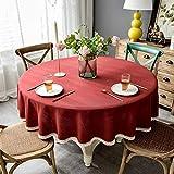 ポリエステル長方形テーブルクロス 洗える 円形テーブルカバー モダン きれいなテーブルクロスを拭いてください 防水 丸テーブルクロス