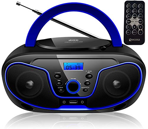 Tragbarer CD-Player | Boombox | CD/CD-R | USB | FM Radio | AUX-In | Kopfhöreranschluss | CD Player | Kinder Radio | CD-Radio | Stereoanlage | Kompaktanlage… (Dark Blue)
